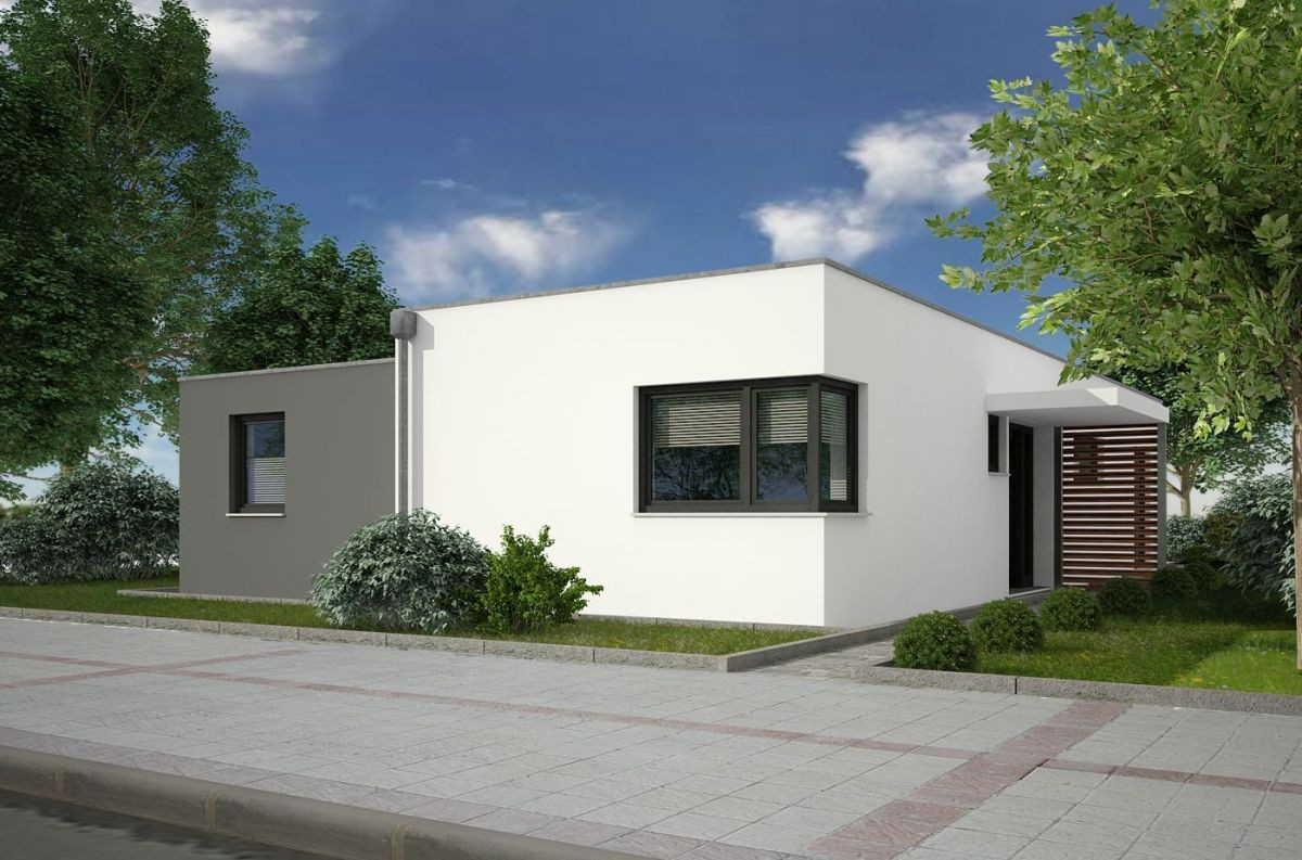 A Small One Storey Aerocrete House With A Flat Roof