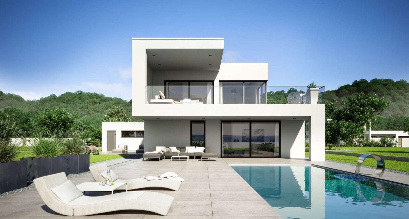 Two storey aerated concrete house arta in bauhaus style for Bauhaus swimmingpool