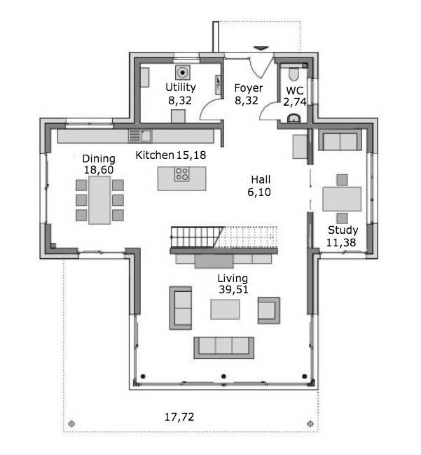 Modern two-story villa Oak first floor plan