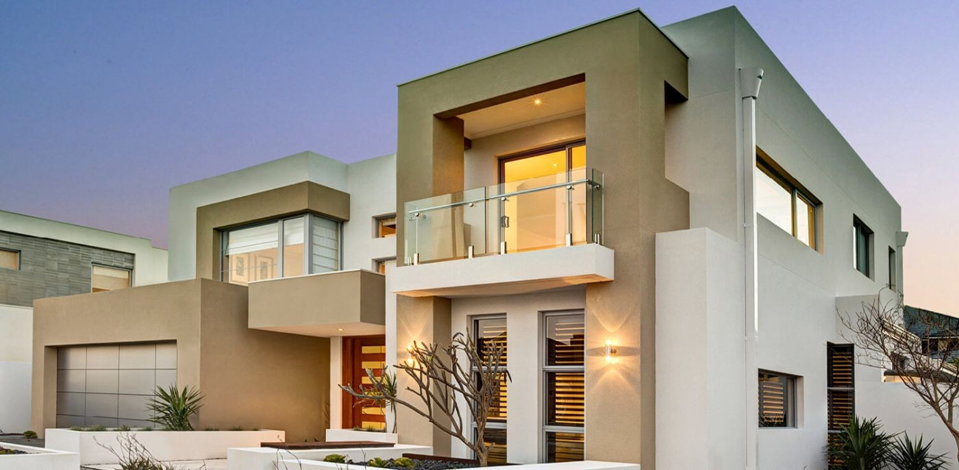 The modern two-storey house Lynix with a garage and a balcony