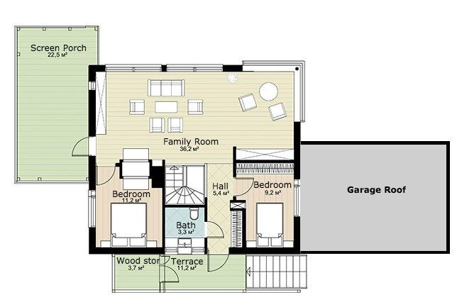 Second floor plan of two-story modern timber house with sauna and screen porch