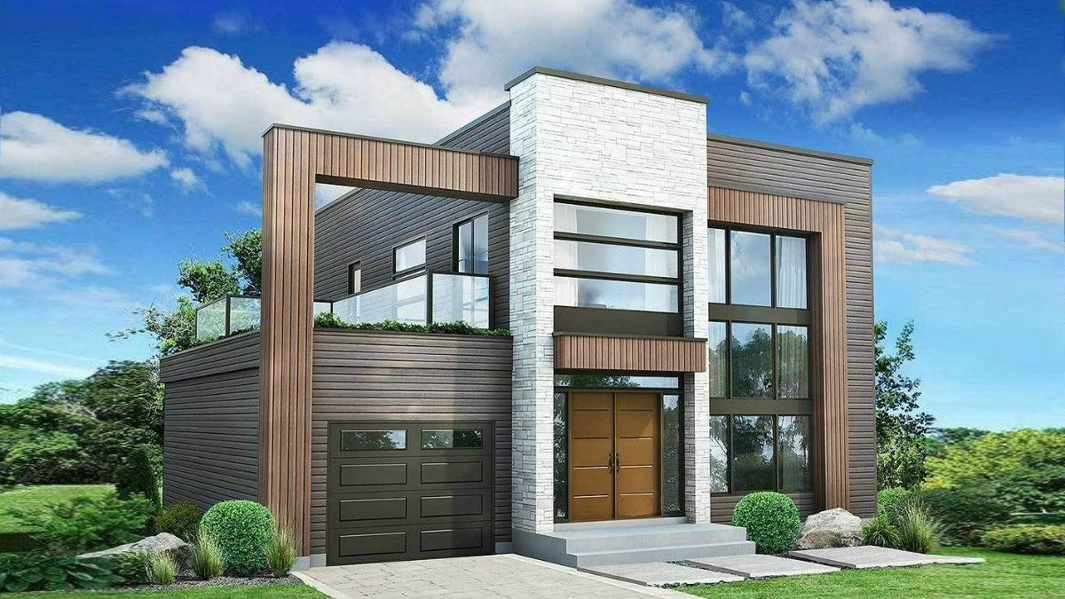 Modern House Plan Boomer With A Terrace On The Second Floor
