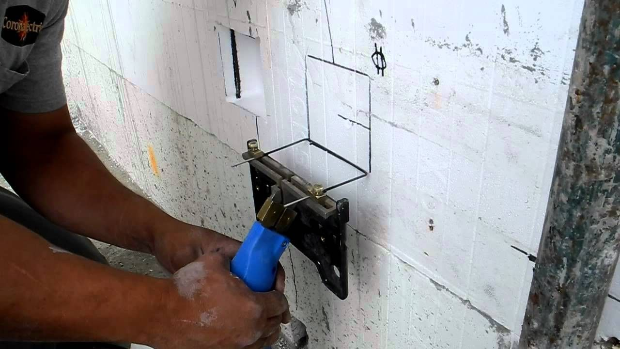 Cutting socket openings on insulated concrete formwork