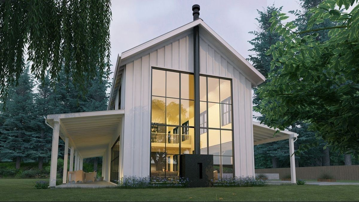 Two Storey House With A Loft Panoramic Windows And Large Decks