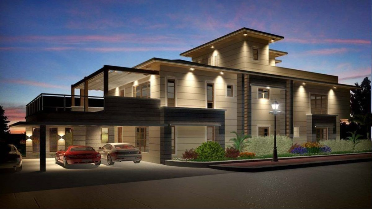 Modern two storey house plan prestige from indian architects k square