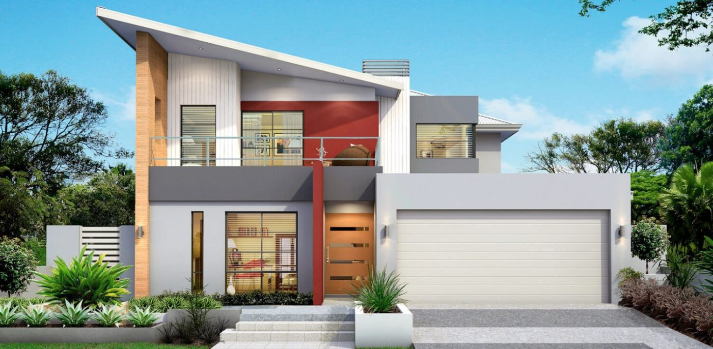 Contemporary two-storey house plan with a living room and ...