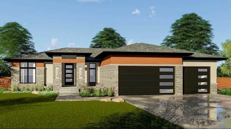 . Modern single story house plans with a walkout basement